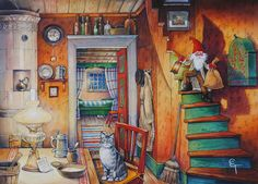 View Image, Gnomes, Color Inspiration, Romantic, Country, Drawings, Illustration, Cards, Painting