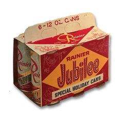 Rainier Holiday Jubilee beer can six-pack found under a house in Billings, MT in 1998. Before this find there were only 3 of the 6 color variations known.