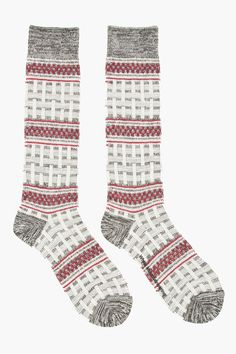 WHITE MOUNTAINEERING Grey & Burgundy Tall Basket Patterned Knit Socks
