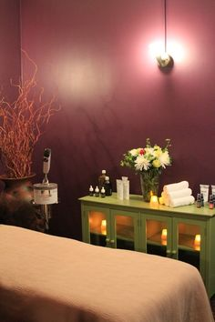 day spa || massage therapy room || esthetician room || aesthetician room || esthetics || skin care || body waxing || hair removal || body scrub || body treatment room || green cabinet