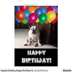 English Bulldog Happy Birthday Greeting Card