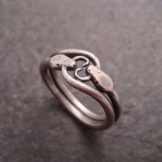 Ring Snake Double Ouroboros Ring in Sterling Silver - Handmade in Seattle
