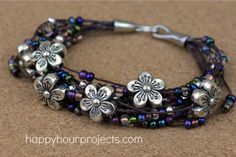 Floral Layered Bracelet Video Tutorial at www.happyhourprojects.com