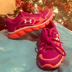 Girls Under Armour shoes Purple and orange low top sneakers for girls. Worn once. Under Armour Shoes Athletic Shoes