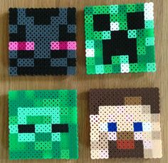 Set of 4 Minecraft Coasters with Optional Holder perler beads by IMeltBeads
