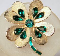 Vintage Crown Trifari Green Rhinestone Shamrock Pin by GretelsTreasures on Etsy