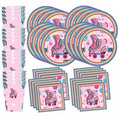 Discounted Roller Skating Birthday Party Supplies Set Plates Napkins Cups Tableware Kit for 16 Happy 75th Birthday, 6th Birthday Parties, 9th Birthday, Roller Skating Party Favors, Roller Skate Cake, Party Kit, Party Ideas, Unicorn Party Supplies, Kid Party Favors