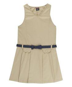 Love this Khaki Dot Belt Pleated Jumper - Toddler & Girls on #zulily! #zulilyfinds