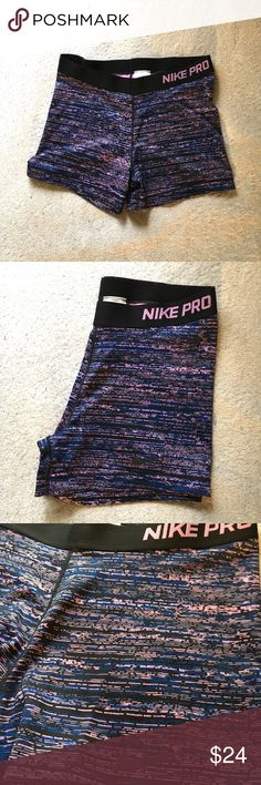 NIKE pro spandex Blue and pink unique design to give a girly vibe to your sporty look. 💕 Comfortable for lounging, sports, or under garments. Super cute! Too big on me :(  Make an offer! Considering all reasonable ones :) Nike Pants Leggings