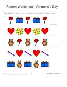 valentines day pattern worksheets for kids 1 2 pattern draw and color the - Color Pattern Worksheets