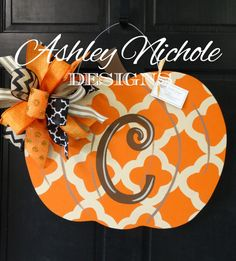 ~Quatrefoil Pumpkin~  Customized for you, hand cut and hand painted with care, this pumpkin will have you excited to visit the pumpkin patch! This item makes a great gift and is good for indoor and outdoor use. Please let us know in the comments what initial you want!  19 H x 22 W  Includes fun bow!  Made of 1/4 plywood. Painted with outdoor quality paint. Painted black on the back for that polished look.