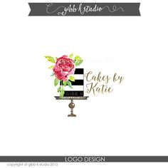 Modern typography compliments an original watercolor illustration of a cake stand and roses. Perfect for a bakery, wedding cake, or any kind of business. Watercolor illustration original to Gibb K Studio.  **Gold foil is color made to look like gold--not actual gold**  Convo us if you want a different color… https://www.etsy.com/listing/232508622/add-on-color-change-to-one-of-our-custom?ref=shop_home_active_10  Want business cards? See the listing for the add on…...