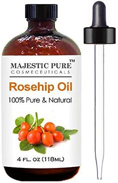 Product review for Rosehip Oil for Face, Nails, Hair and Skin From Majestic Pure - 100% Pure, Organic Cold Pressed Premium Rose Hip Seed Oil, 4 oz  - Looking for a natural, but also effective, skin care oil? 100% PURE ROSEHIP OIL – ORGANIC – Cold pressed, fresh and high quality, no additives or fillers. Rose hip oil is extracted from the seeds and seed cases of a rose bush (Rosa Moschata or Rosa Canina). The oil from the plant...