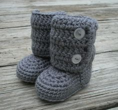 Hazel definitely needs these to match my gray Uggs!!! Infant winter boots. $20.00, via Etsy.