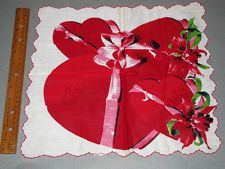 """Vintage Valentine Holiday 14"""" Hanky Handkerchief CANDY HEART BOXES & ORCHIDS"""