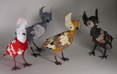 Stuffed birdies by whileshenaps (etsy)--big girl's room