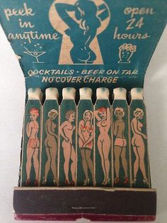 Girlie matchbook Frieda's Place, Cocktail, Lawndale, California. Unstruck and Complete with all 21 matches intact.