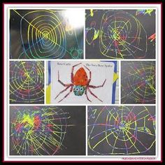 The Very Busy Spider Kindergarten Art Response (Eric Carle RoundUP at RainbowsWithinReach)