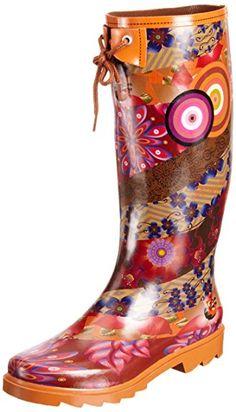 #Desigual Schuhe - Modell Gummistiefel. Muster: floral, ethnisch, exotisch und Mandala, orange.