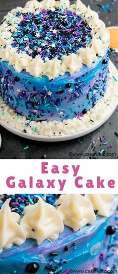 Quick And Easy DIY Galaxy Cake With Lots Of Sprinkles This Birthday Is Fun Colorful Perfect For Kids Space Themed Parties