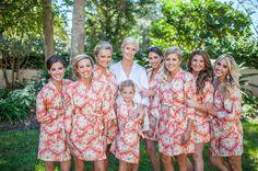 Handmade custom wedding robes for bridal party, bridesmaids. Shop bellesofcotton.com