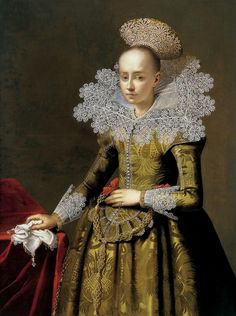 Portrait of a young patrician lady from Gdańsk with a pearl headdress by Anonymous, ca. 1625/35 (PD-art/old), Museu Sa Bassa Blanca