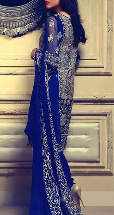 Buy Royal Blue Embroidered Chiffon Dress by RungRez 2015.