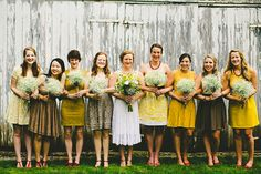 mismatched yellow and gold bridesmaids' dresses