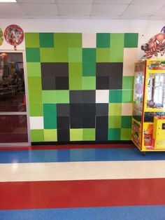 MINECRAFT WALL ART MADE OUT OF 12X12 SCRAPBOOK PAPER SHEETS.