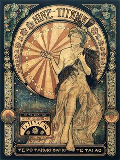Hine Titama by Sandy Rodgers Maori Legends, Art Nouveau Poster, Maori Designs, Nz Art, Maori Art, Kiwiana, Mixed Media Canvas, Art Forms, Illustration Art