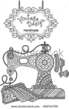 Decorative vintage sewing machine, with ornaments and flowers.  Coloring for adults and meditation. Vector elements