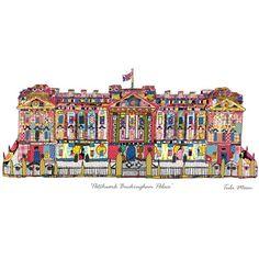 London Buckingham Palace illustration by Patchwork London Print