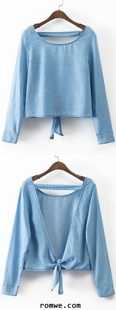 Blue Long Sleeve Self-tie Bow Backless Denim Blouse