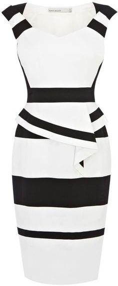 Karen Millen White Colourblock Cotton Peplum Dress