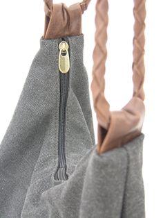 Large Black Hobo canvas and Leather Bag shoulder bag by RuthKraus