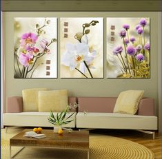 3 panel fresh flower bloom well hot sale modern wall painting abstract picture home wall art painting on canvas prints art - Diy Crafts Abstract Pictures, Wall Art Pictures, Canvas Art Prints, Canvas Wall Art, Modern Wall Paint, Gallery Wall Frames, Art Original, Mural Art, Home Wall Art