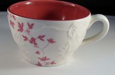 2006 Starbucks Pink White Floral Coffee Cup Mug Embossed Flowers 9 ounces - bidding starts at $10.99