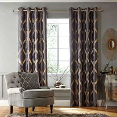 Charcoal Paris Eyelet Curtain Collection | Dunelm