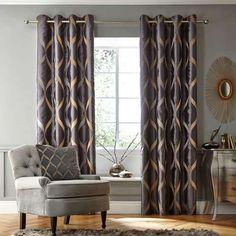 Charcoal Paris Eyelet Curtain Collection | Dunelm