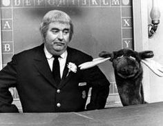 Captain Kangaroo with Mr. Moose. Did you know that the Captain was Clarabelle the Clown on the Howdy Doody show?!
