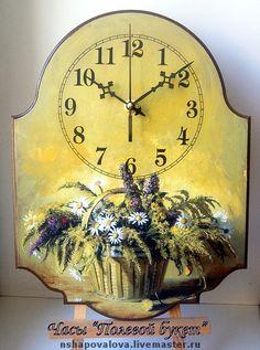 """Часы для дома ручной работы. Ярмарка Мастеров - ручная работа Часы """"Полевой букет"""". Handmade."""