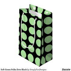 Soft Green Polka Dots Black Small Gift Bag