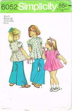 1970s Vintage Simplicity Sewing Pattern 6052 Uncut Toddler Girls Top & Pants Sz3