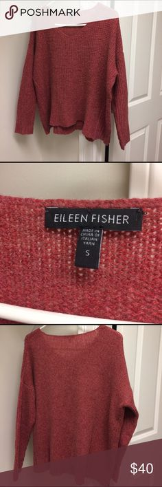 """2 Eileen Fisher sweaters Red Eileen fisher sweater size small 24"""" from shoulder to bottom chest 29"""" across. 52% merino wool 35% baby camel 13% nylon. With round neck line.     Purple Eileen Fisher sweater  size xs 23"""" from shoulder to bottom, chest measurements 29"""" across 100% Cashmere. Both have some piling on them but in good condition with many more wearings. Eileen Fisher Sweaters Crew & Scoop Necks"""