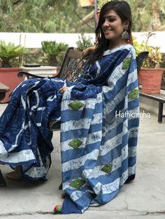 Indigo mull cotton embroidered sari with green mang blouse ( along with an indigo blouse) plus shipping. For details plz watsapp at or DM! Indigo Saree, Cotton Saree, Diaries, Plaid Scarf, Desi, Hand Weaving, Kimono Top, Kolkata, Clothes For Women