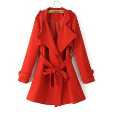 Yoins Red Belted Trench Coat-Red  S/M/L ($47) ❤ liked on Polyvore featuring outerwear, coats, red, trench coats, red coat, red trenchcoat, trench coat, slim fit trench coat y long sleeve coat