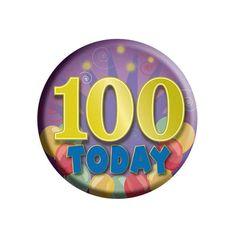 Button 100 jaar voor de jarige. Gekleurde button met opdruk 100 today.