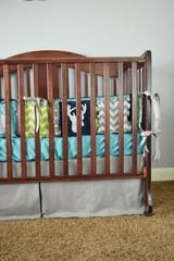 Woodland Baby Crib Bedding for Boys in Lime Green, Grey, Navy Blue with Deer Applique - Crib Bedding - A Vision to Remember
