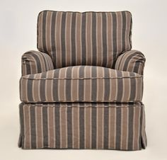 Quatrine Custom Furniture - Milan Slipcovered Chair #stripes #beach #slipcovered #chair #charcoal
