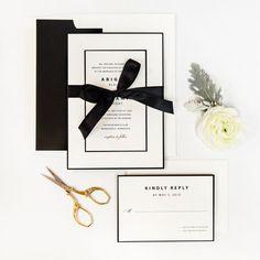 Classic Champagne Press Invitation Suite